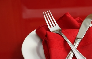 red-table-setting